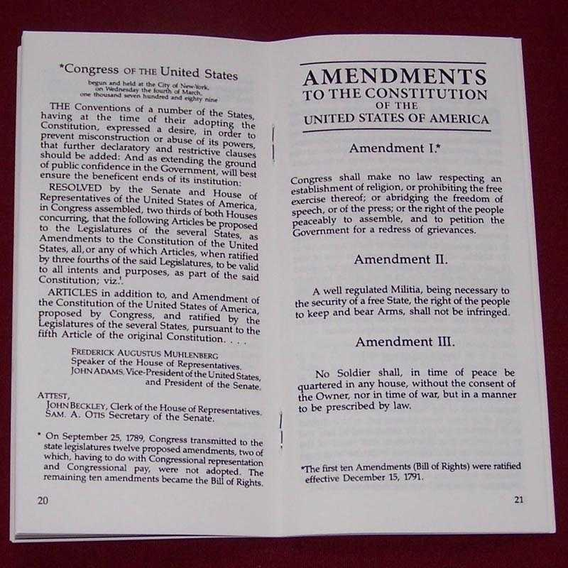 Pocket Constitution bill of rights