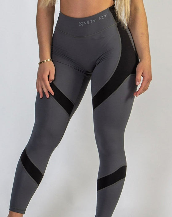 Black and Grey High Waisted Workout Leggings for Women