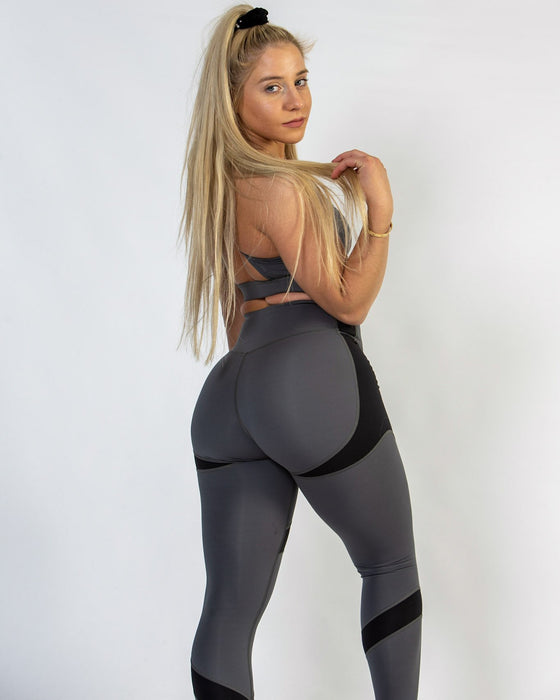 Black and Grey High Waisted Leggings for Women