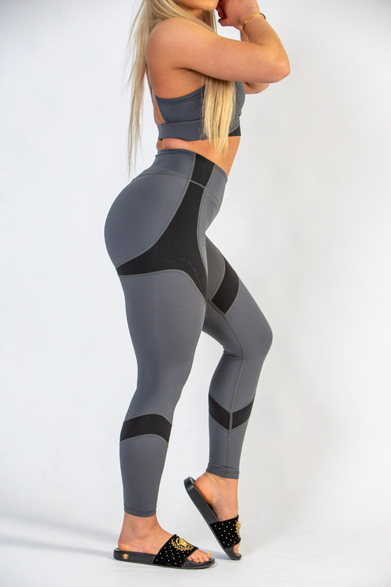 Black and Grey High Waisted Fitness Leggings for Women