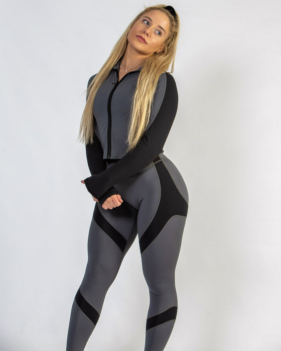 Black and Grey Fitted Workout Jacket for Women