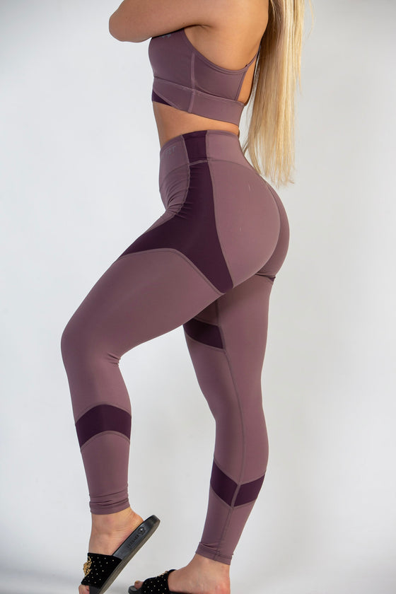 Purple and Mauve  High Waisted Workout Leggings for Women