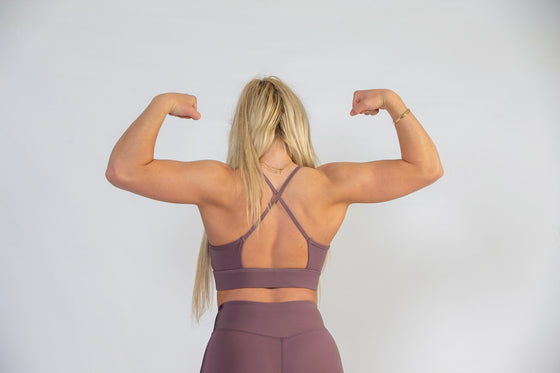Mauve and Purple Workout Sports Bra for Women