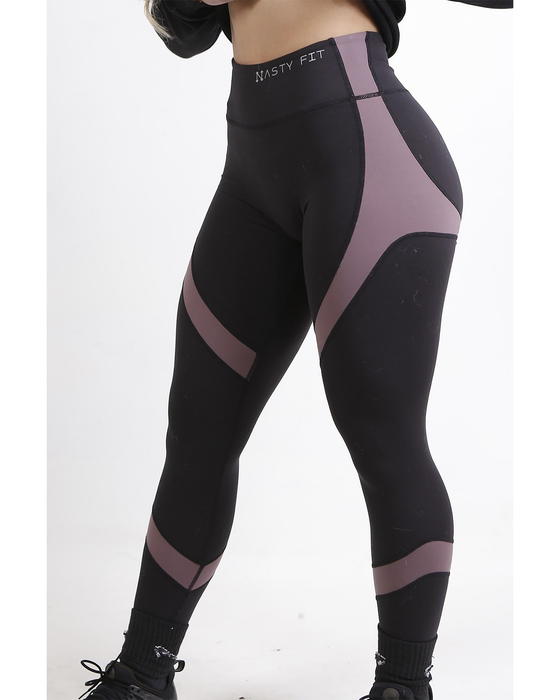 Black and Purple High Waisted Leggings for Women