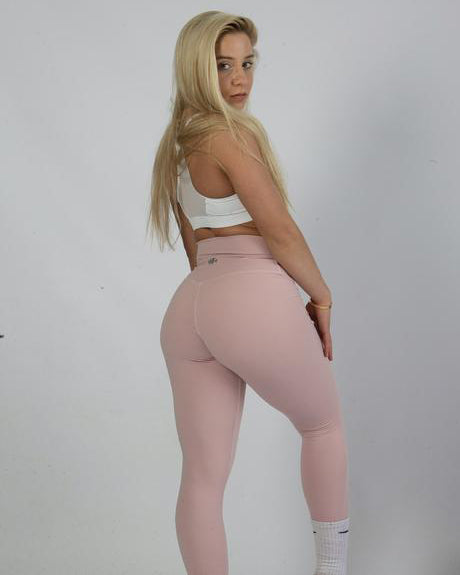 Baby Pink Waisted Workout Leggings for Women Light Pink