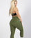 Nastassia Ponomarenko wearing Forest Green High Waisted Workout Leggings for Women