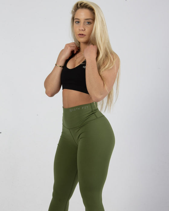 Nastassia Ponomarenko wearing Forest Green High Waisted Fitness Leggings for Women