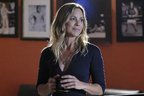 Maria Bello gold faith necklace with cz cross, worn on NCIS.