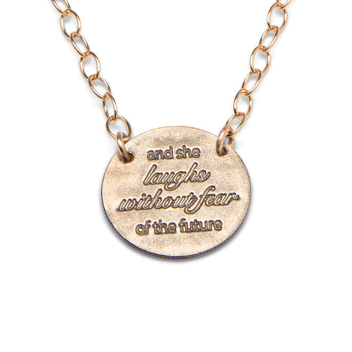 And She Laughs gold statement necklace