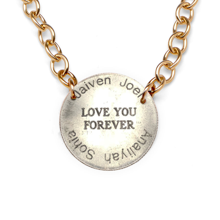 Mariamor Love You Forever Custom Kids' Name Quarter Statement Necklace, Gold