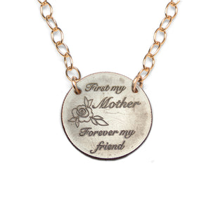 First My Mother Forever My Friend gold statement necklace