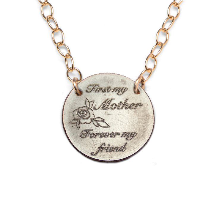 Mariamor First My Mother Forever My Friend Quarter Extra Light Statement Necklace, Gold