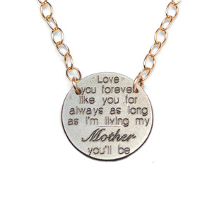 Love You Forever- Mom light gold statement necklace