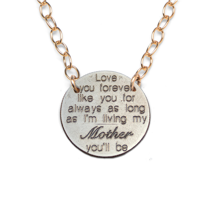 Mariamor Love You Forever Mom Quarter Extra Light Statement Necklace, Gold