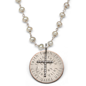 Mariamor Faith Quarter, CZ Cross Necklace, Freshwater Pearl