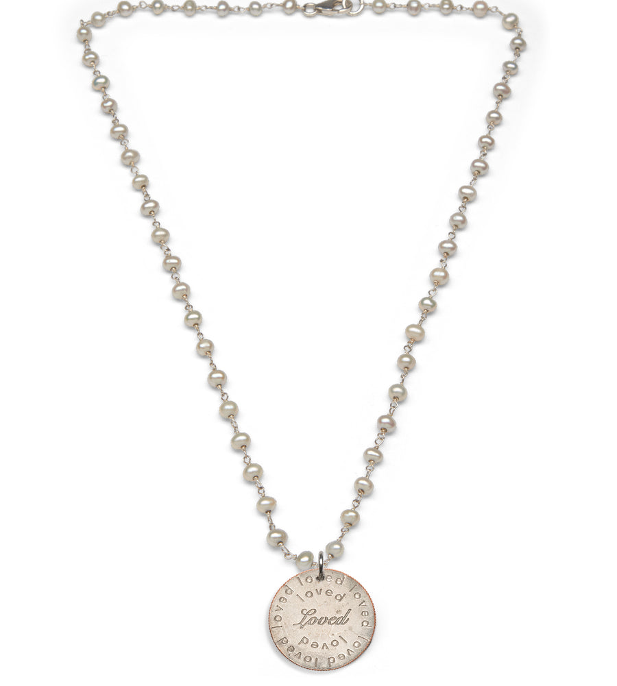 Mariamor Loved Quarter Necklace, Freshwater Pearl