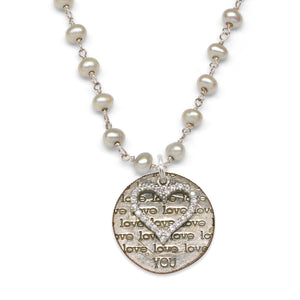 Mariamor Love You Dime, CZ Heart Necklace, Freshwater Pearl