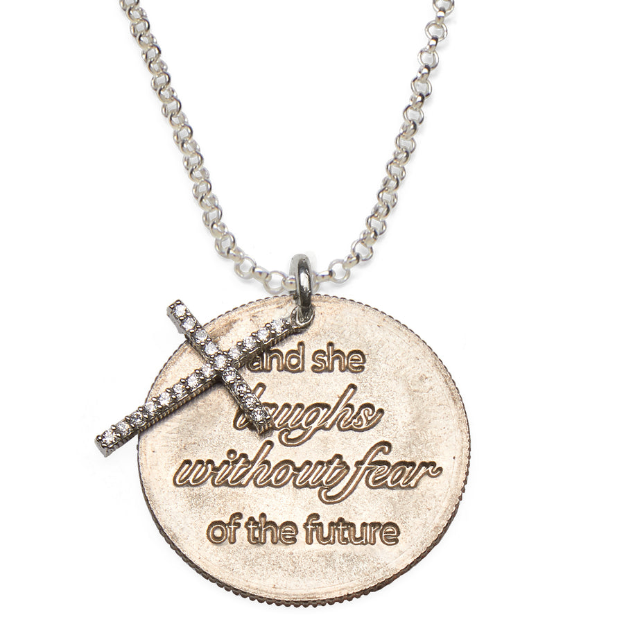 Mariamor She Laughs Without Fear Quarter, CZ Cross Necklace, Sterling Silver