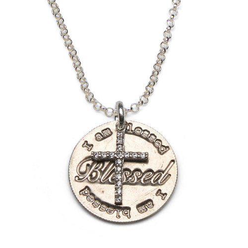 Blessed silver necklace with CZ cross