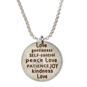 Mariamor Kindness Love Joy Patience Quarter Necklace, Sterling Silver