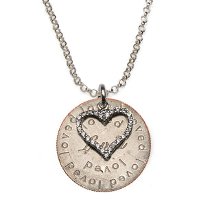 NEW Loved quarter sterling silver necklace with CZ heart