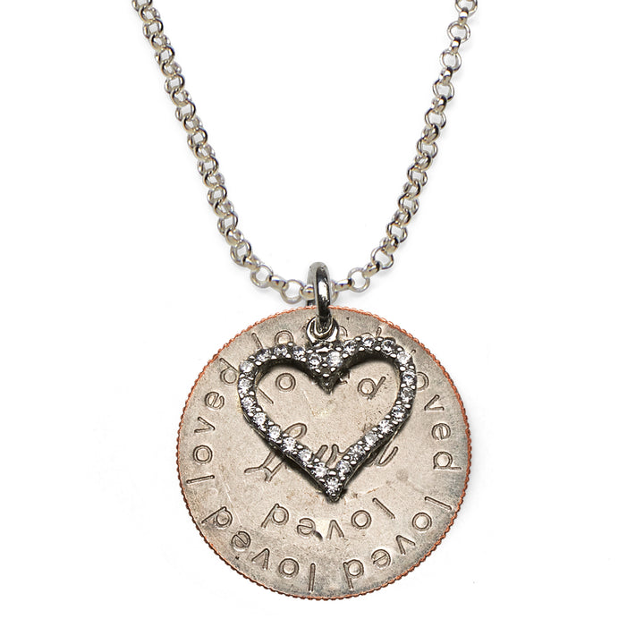 Mariamor Loved Quarter, CZ Heart Necklace, Sterling Silver