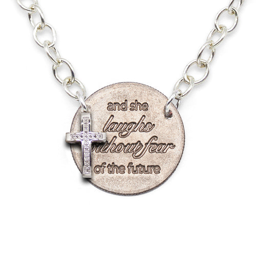 She Laughs Without Fear silver statement necklace with diamond cross