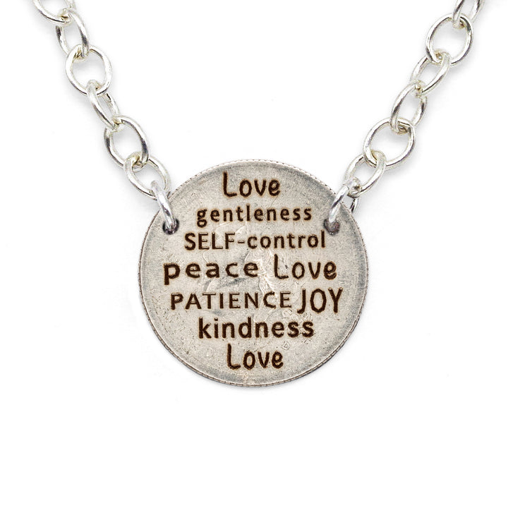 Mariamor Kindness Love Joy Patience Quarter Statement Necklace, Sterling Silver