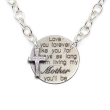 Love You Forever- Mom sterling silver statement necklace with diamond cross