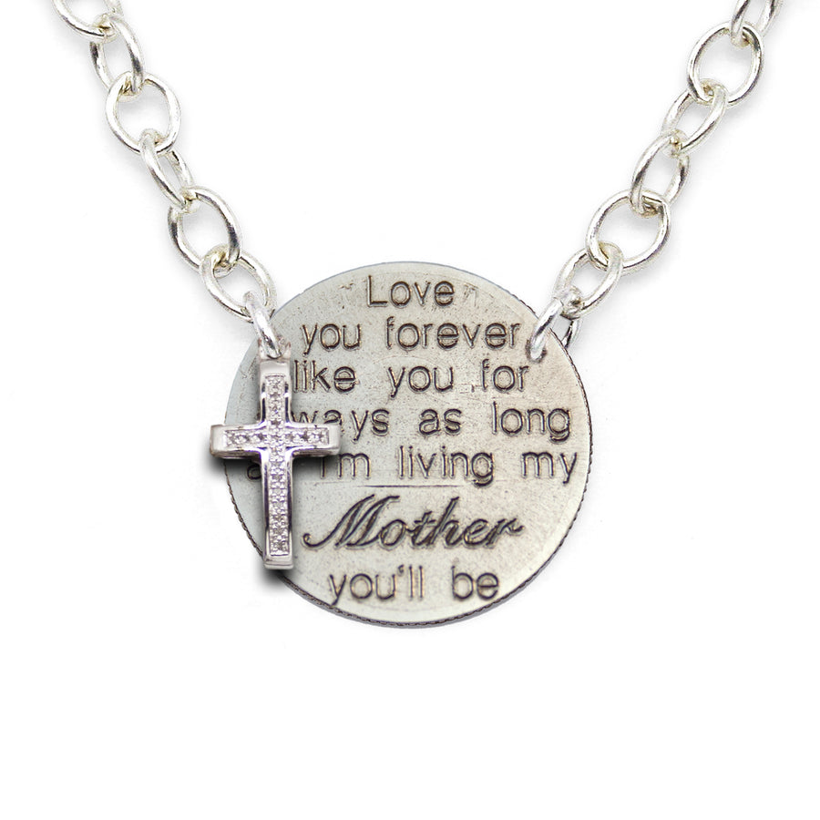 Mariamor Love You Forever Mom Quarter, Diamond Cross Statement Necklace, Sterling Silver