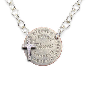 Mariamor Blessed Quarter and Diamond Cross Statement Necklace, Sterling Silver