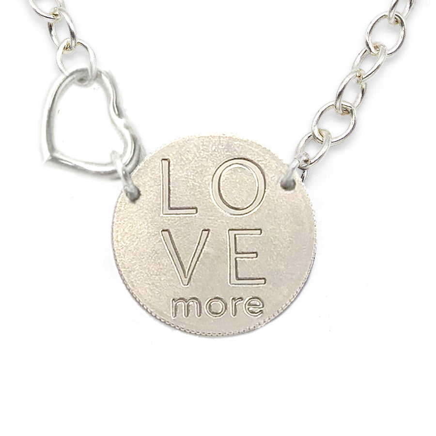 Mariamor Love More Quarter, Floating Heart Statement Necklace, Sterling Silver