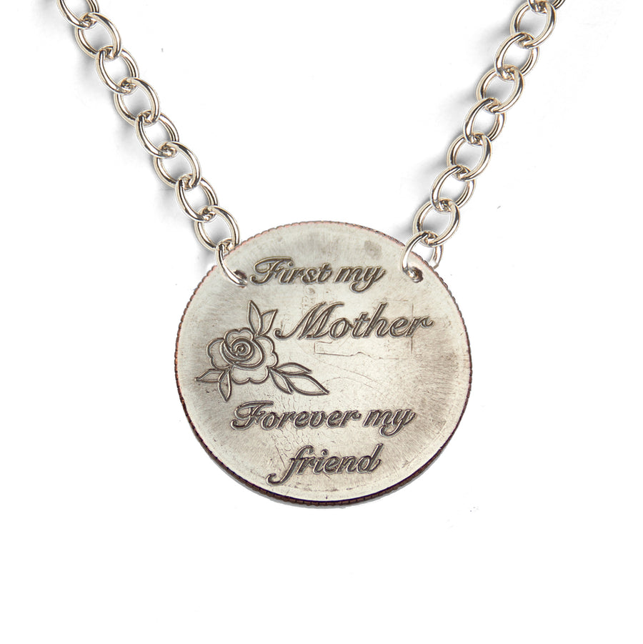 Mariamor First My Mother Forever My Friend Quarter Light Statement Necklace, Sterling Silver
