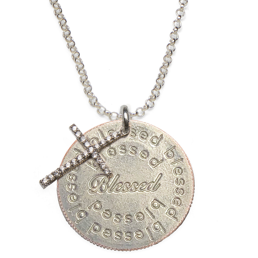 Mariamor Blessed Quarter, CZ Cross Necklace, Sterling Silver