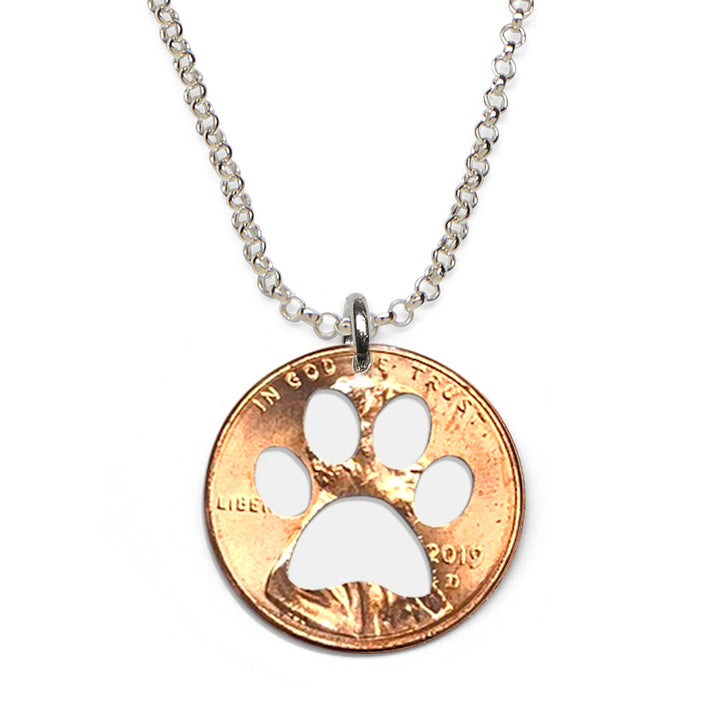 Mariamor Paw Print Coin Necklace, Sterling Silver