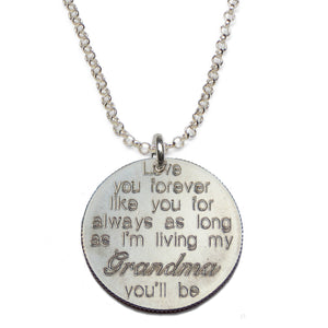 Love You Forever- Grandma sterling silver necklace