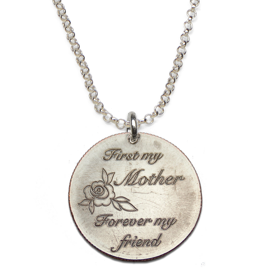 First My Mother Forever My Friend sterling silver necklace