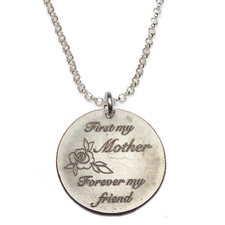 Mariamor First My Mother Forever My Friend Quarter Necklace, Sterling Silver