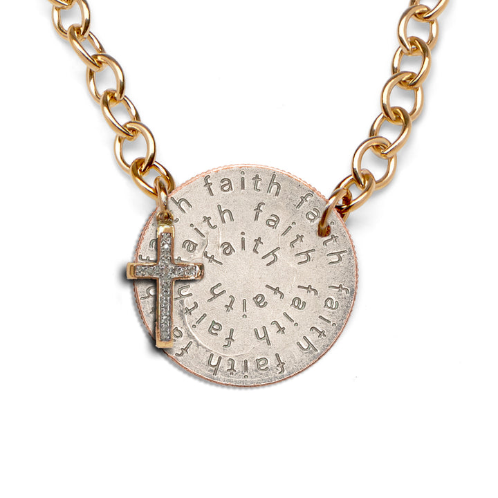 Mariamor Faith Quarter and Diamond Cross Statement Necklace, Gold