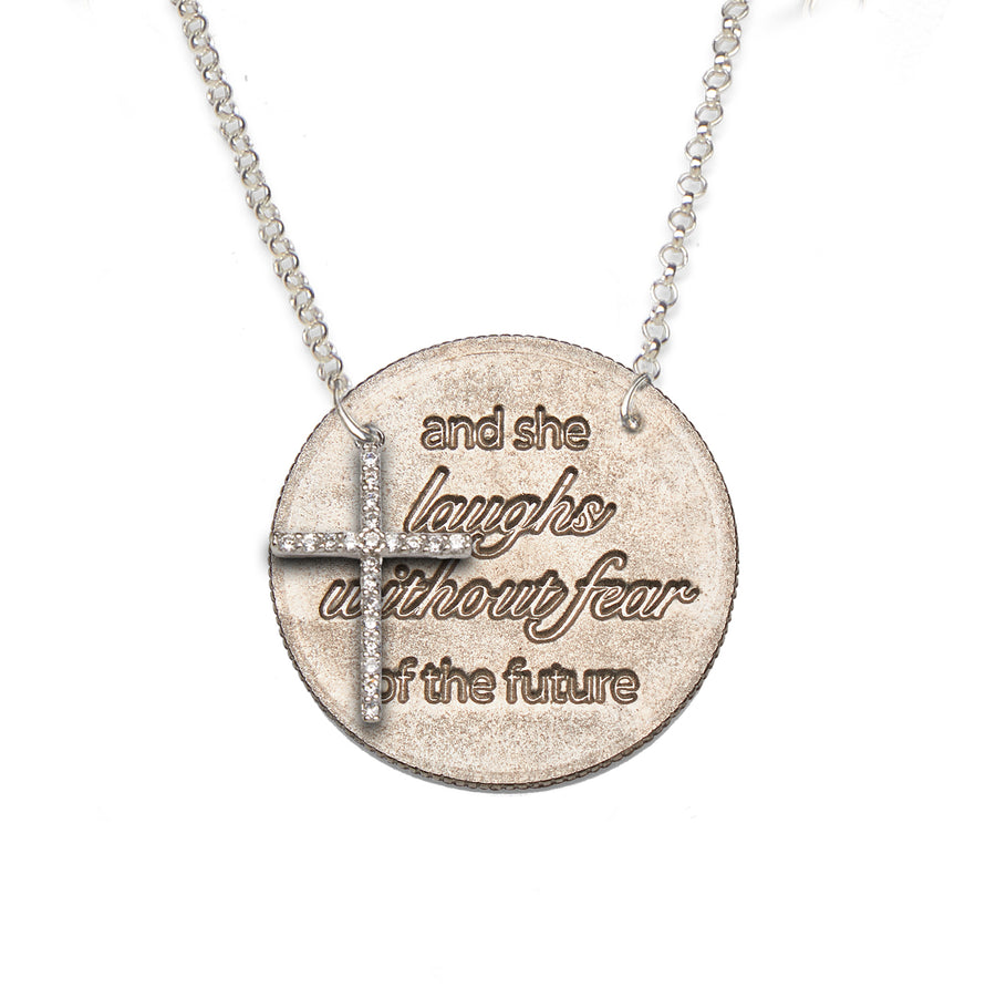 Mariamor She Laughs Without Fear Quarter (side-drilled), CZ Cross Necklace, Sterling Silver