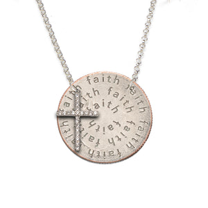Mariamor Faith Quarter (side-drilled), CZ Cross Necklace, Sterling Silver