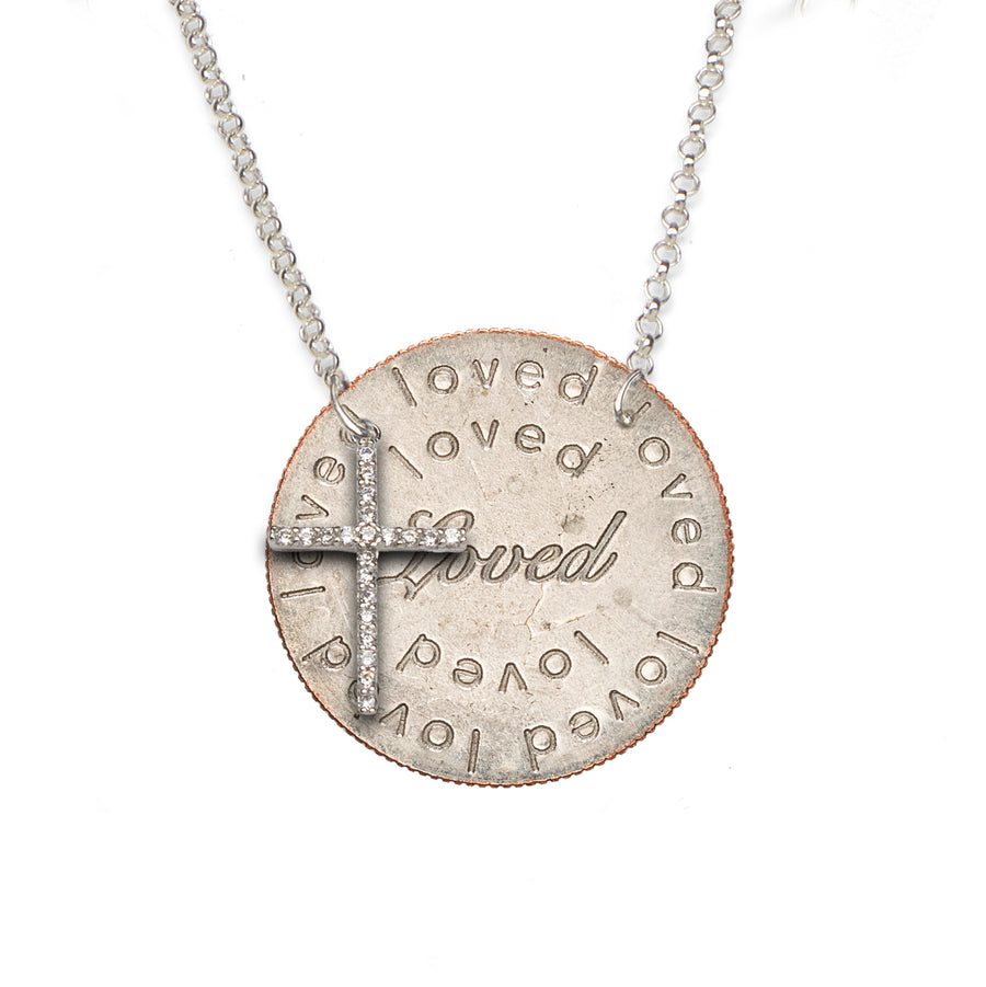 Mariamor Loved Quarter (side-drilled), CZ Cross Necklace, Sterling Silver
