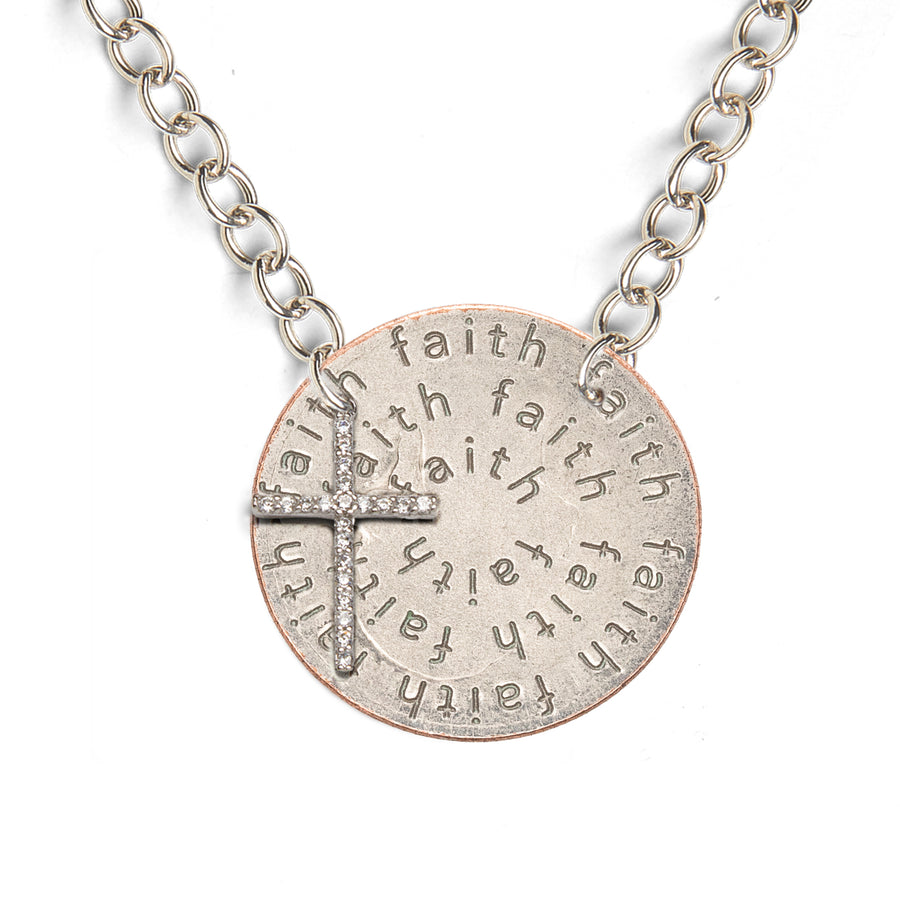 Mariamor Faith Quarter, CZ Cross Light Statement Necklace, Sterling Silver