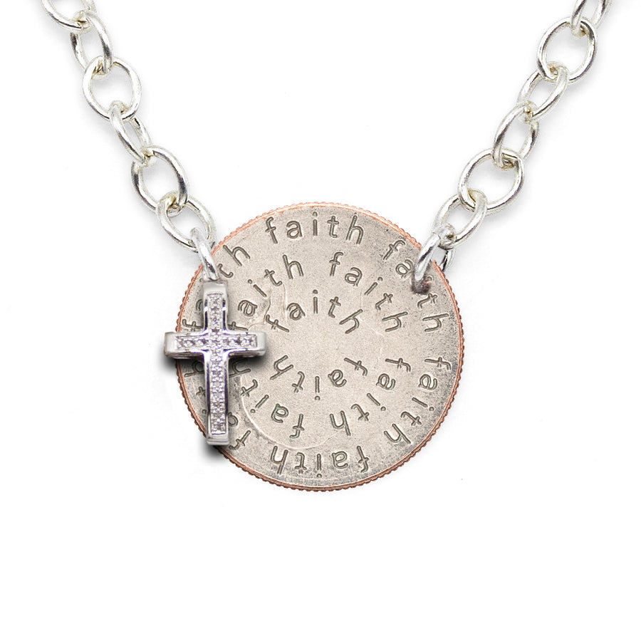 Mariamor Faith Quarter and Diamond Cross Statement Necklace, Sterling Silver