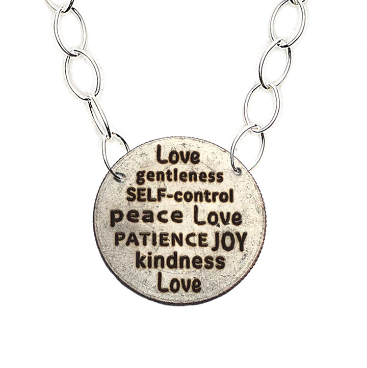 Mariamor Kindness Patience Joy Love Quarter Featherweight Statement Necklace, Sterling Silver