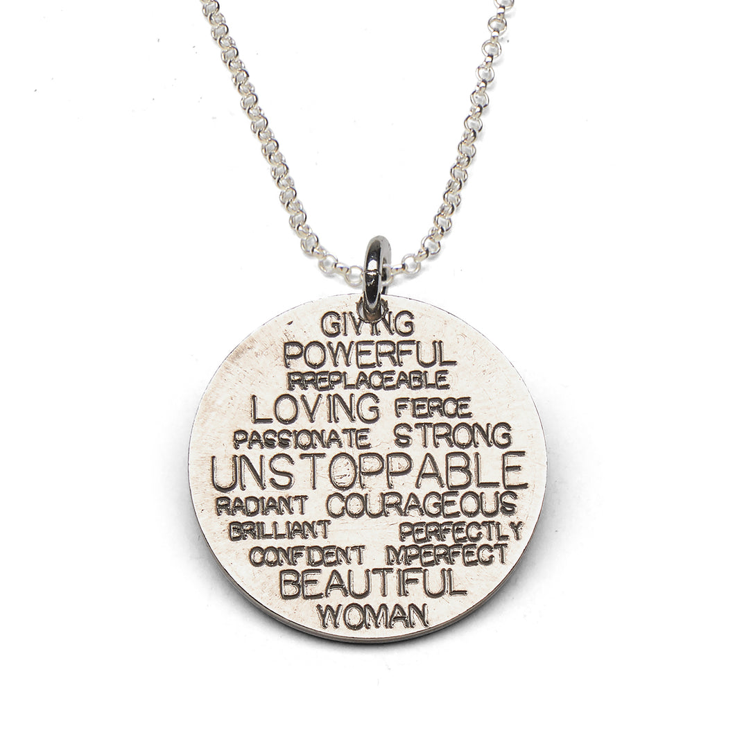 Unstoppable Woman sterling silver necklace