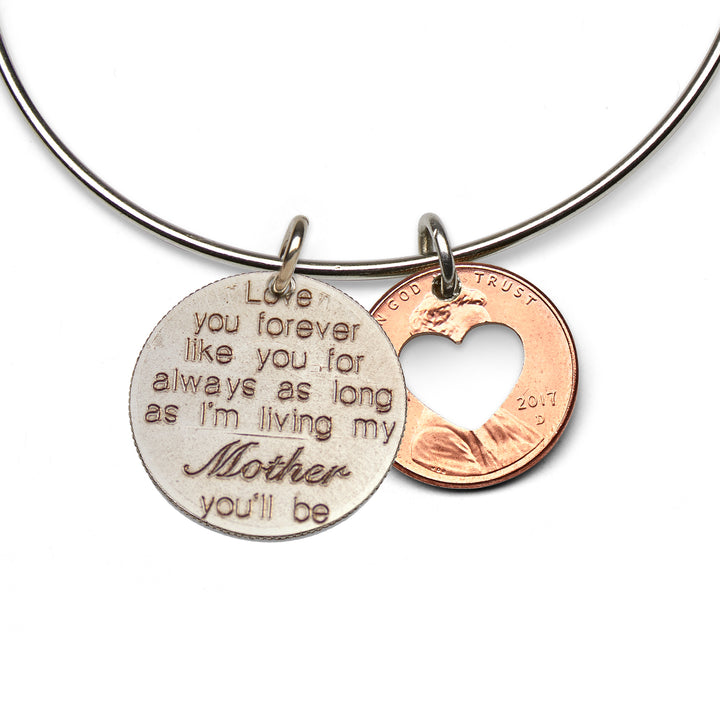 Mariamor Love You Forever Mom Quarter, Heart Penny Adjustable Bangle, Sterling Silver
