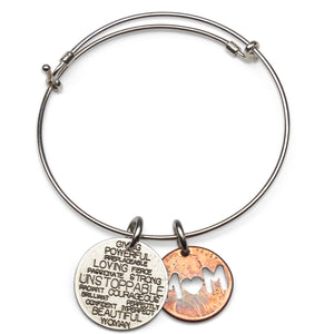 Unstoppable Woman nickel adjustable sterling bangle