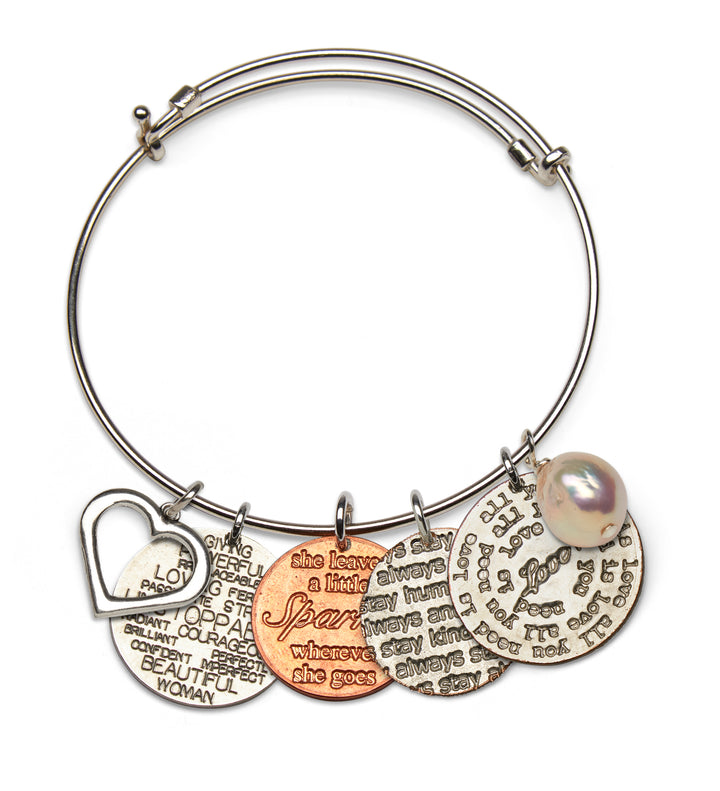 Mariamor Customizable Coin Adjustable Bangle, Sterling Silver