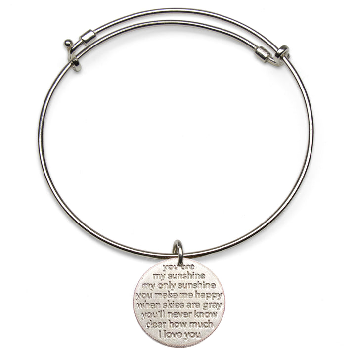 Mariamor You Are My Sunshine Quarter Adjustable Bangle, Sterling Silver